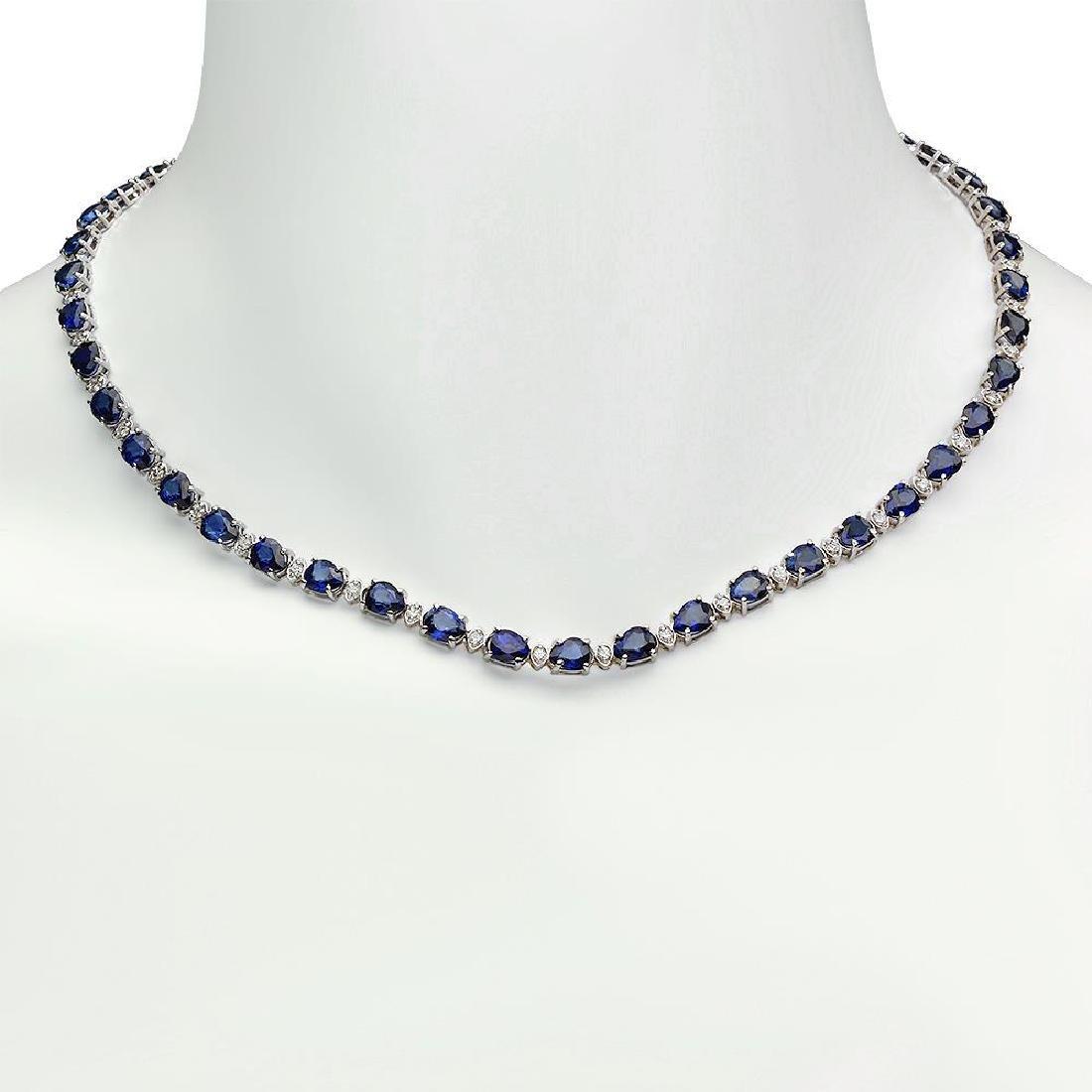 14K Gold 31.39ct Sapphire 1.52ct Diamond Necklace