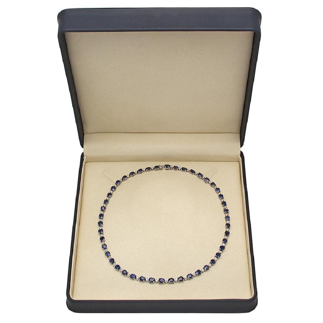 14K Gold 31.39ct Sapphire 1.52ct Diamond Necklace - 4