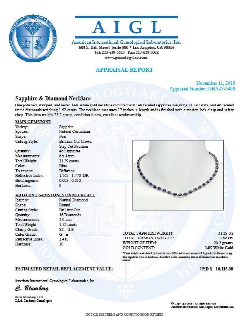 14K Gold 31.39ct Sapphire 1.52ct Diamond Necklace - 5