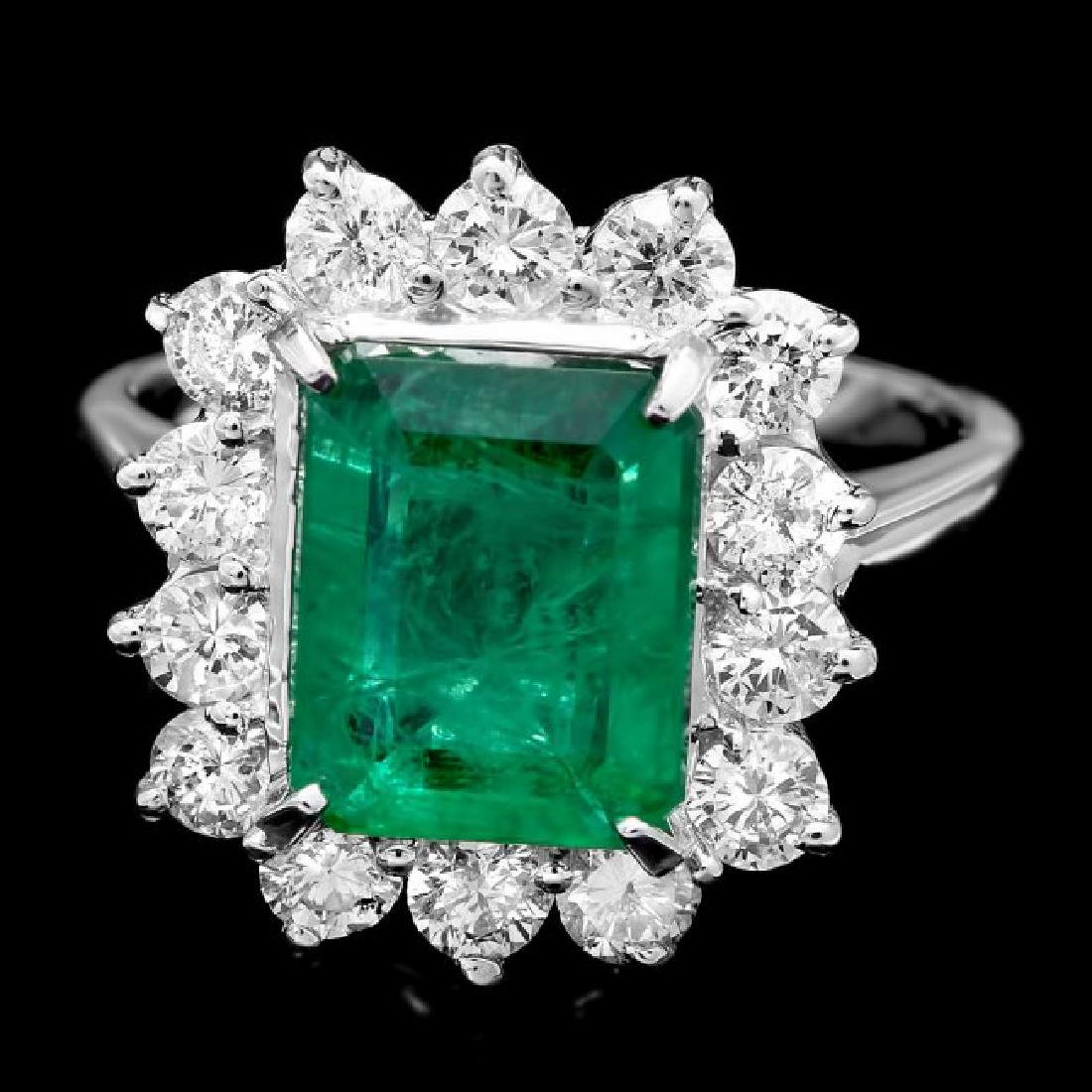 14k White Gold 3.13ct Emerald 1.35ct Diamond Ring