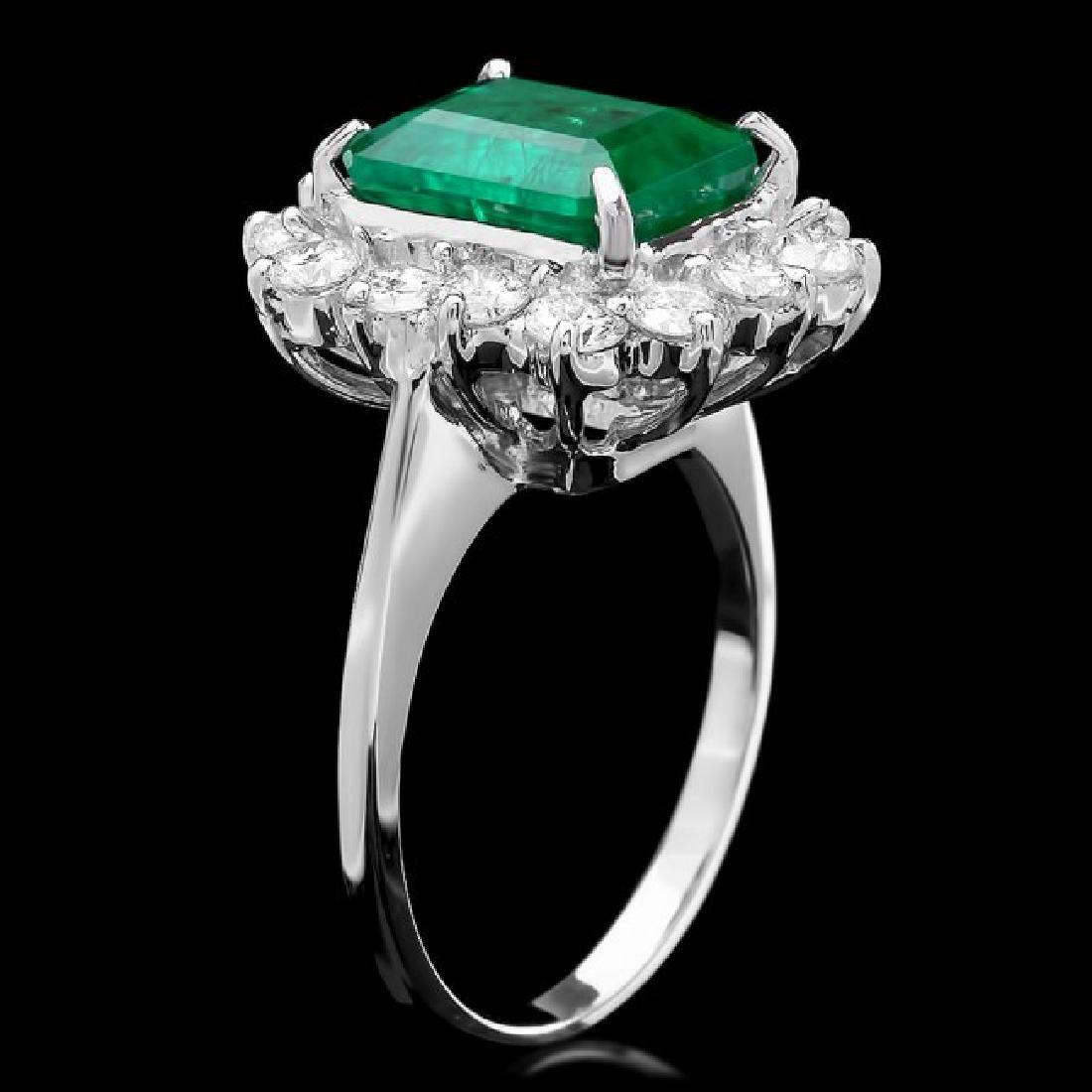 14k White Gold 3.13ct Emerald 1.35ct Diamond Ring - 2