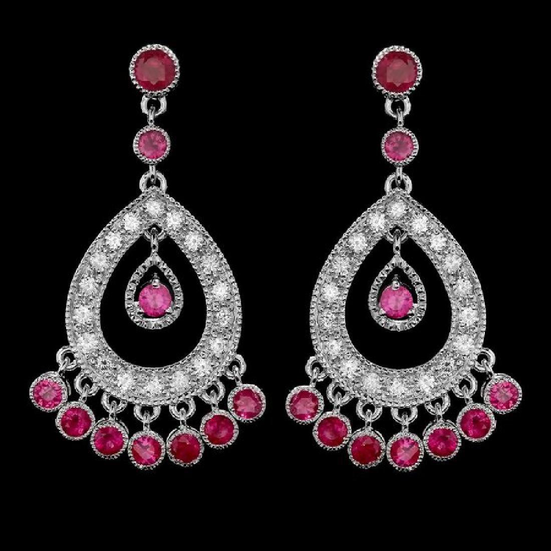 14k Gold 3.00ct Ruby 1.30ct Diamond Earrings