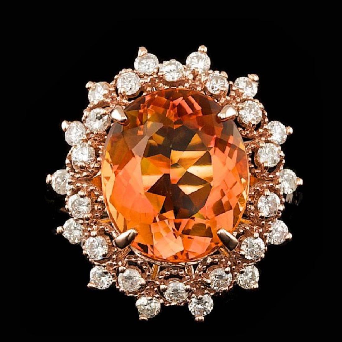 14k Rose Gold 5.50ct Citrine 0.80ct Diamond Ring