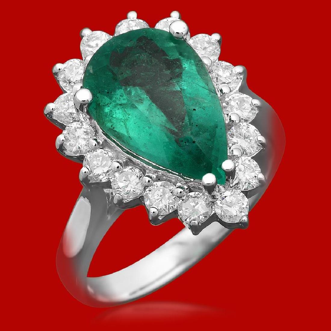 14k Gold 3.13ct Emerald 0.95ct Diamond Ring