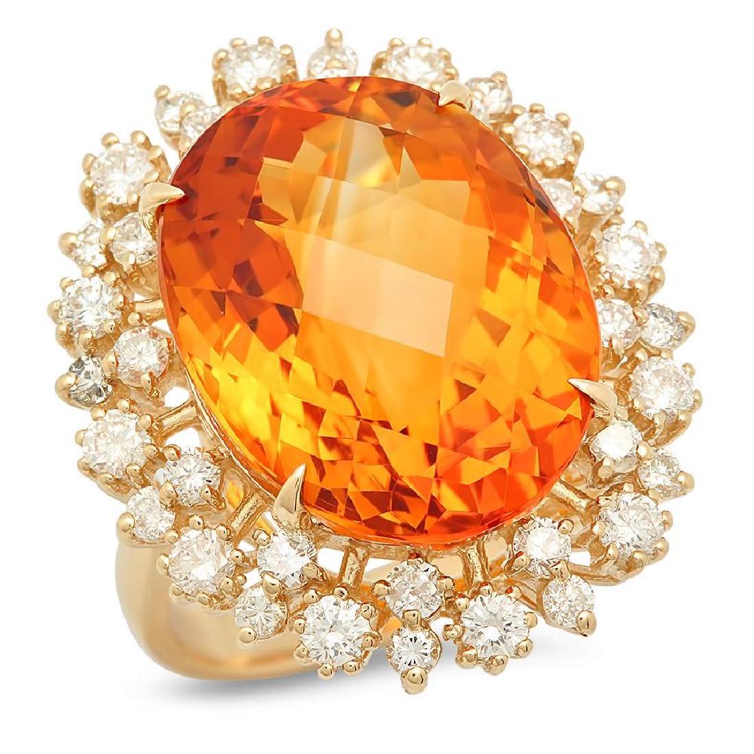 14K Gold 15.25ct Citrine 1.35cts Diamond Ring