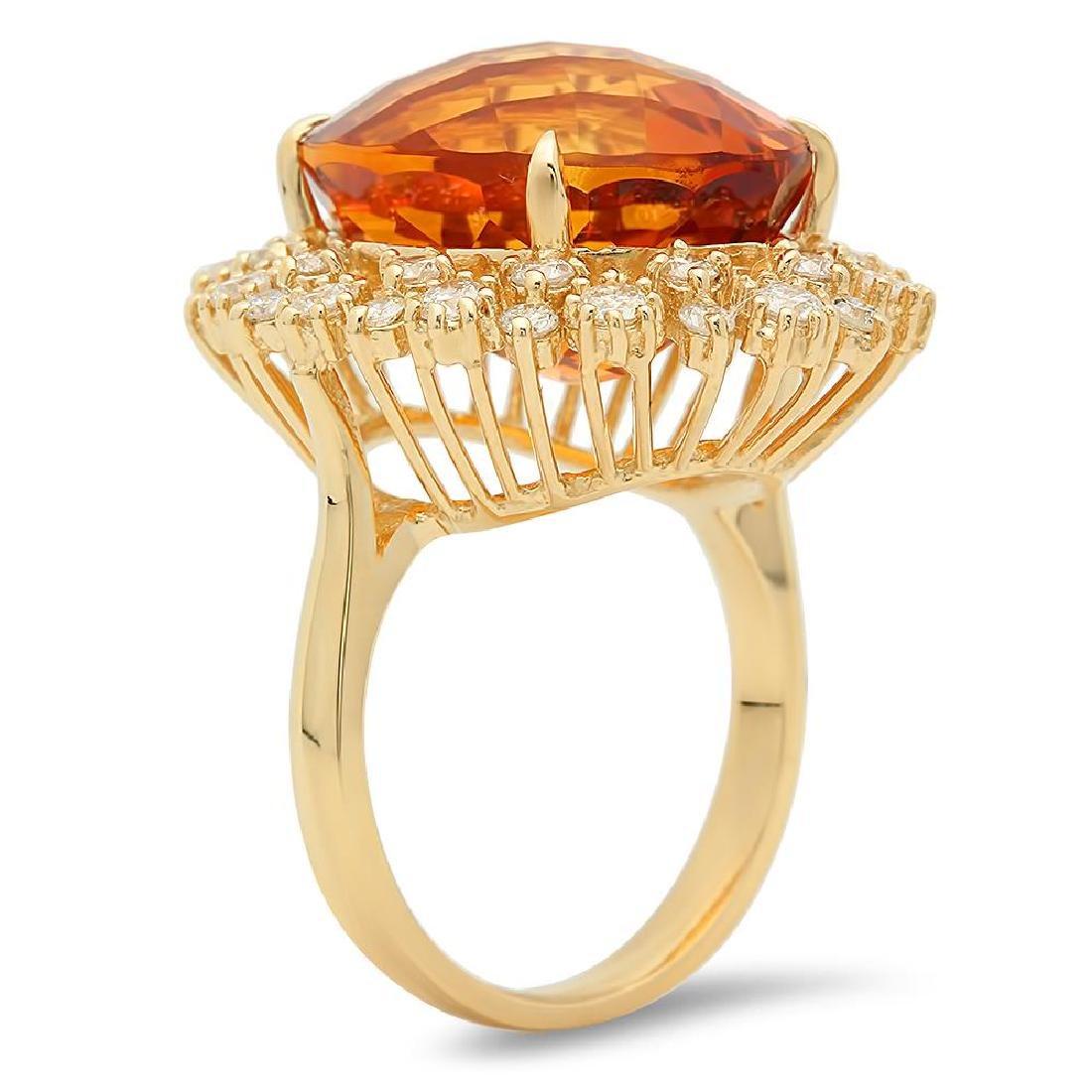 14K Gold 15.25ct Citrine 1.35cts Diamond Ring - 2