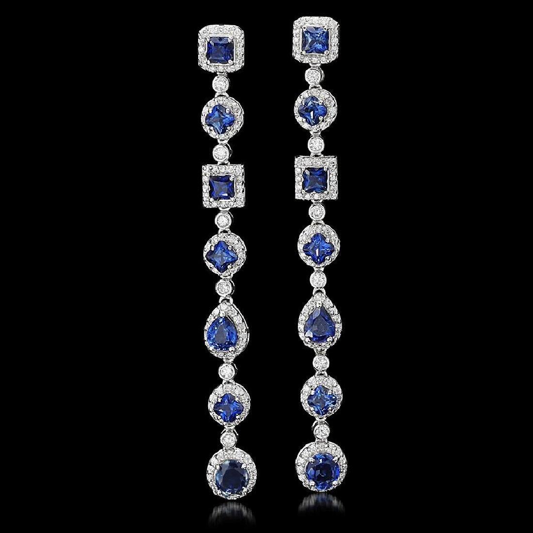 18K Gold 6.39ct Sapphire 2.87ct Diamond Earrings