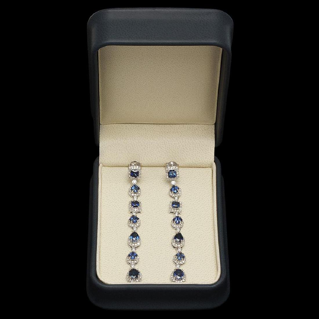 18K Gold 6.39ct Sapphire 2.87ct Diamond Earrings - 3