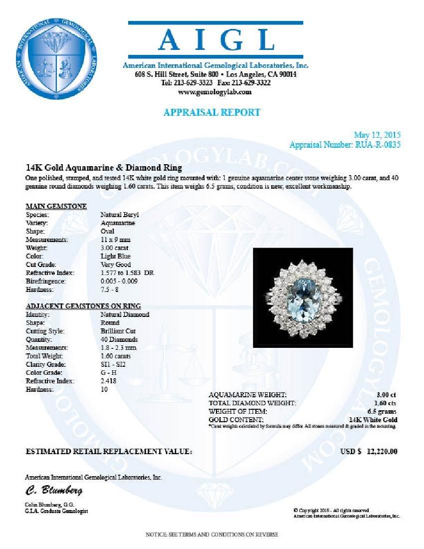 14k Gold 3.00ct Aquamarine 1.60ct Diamond Ring - 6