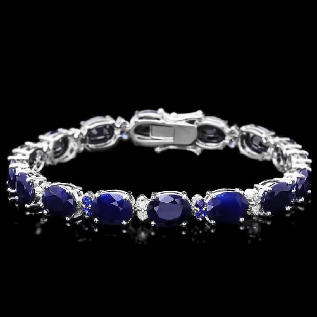 14k Gold 35.8ct Sapphire 0.75ct Diamond Bracelet