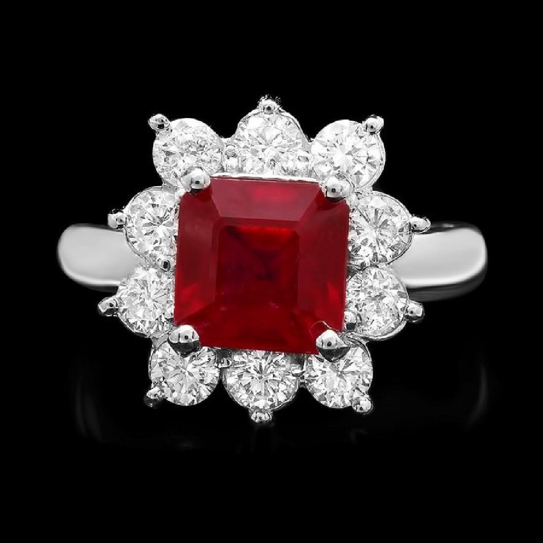 14k White Gold 3.40ct Ruby 1.25ct Diamond Ring