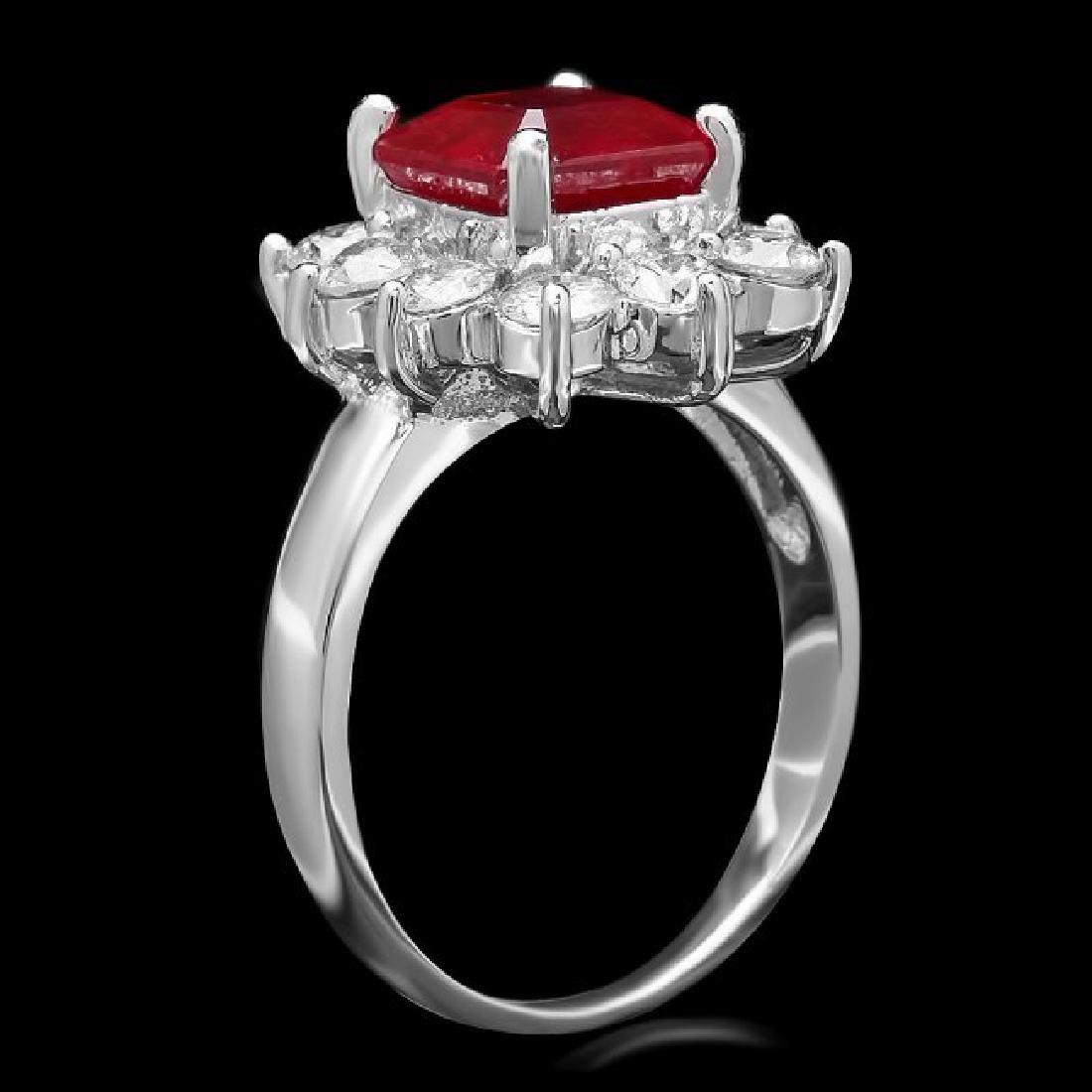 14k White Gold 3.40ct Ruby 1.25ct Diamond Ring - 2
