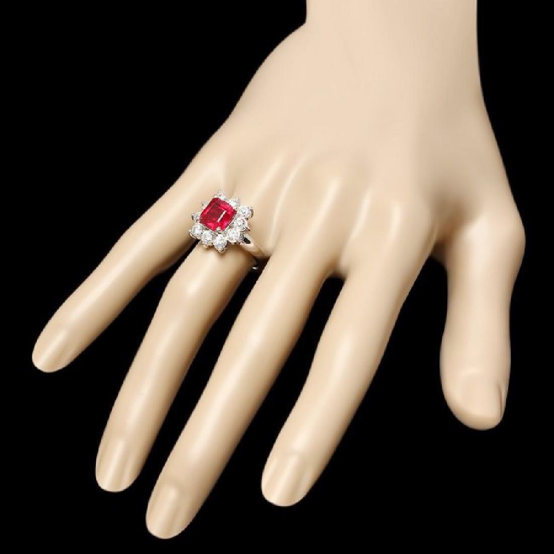 14k White Gold 3.40ct Ruby 1.25ct Diamond Ring - 3