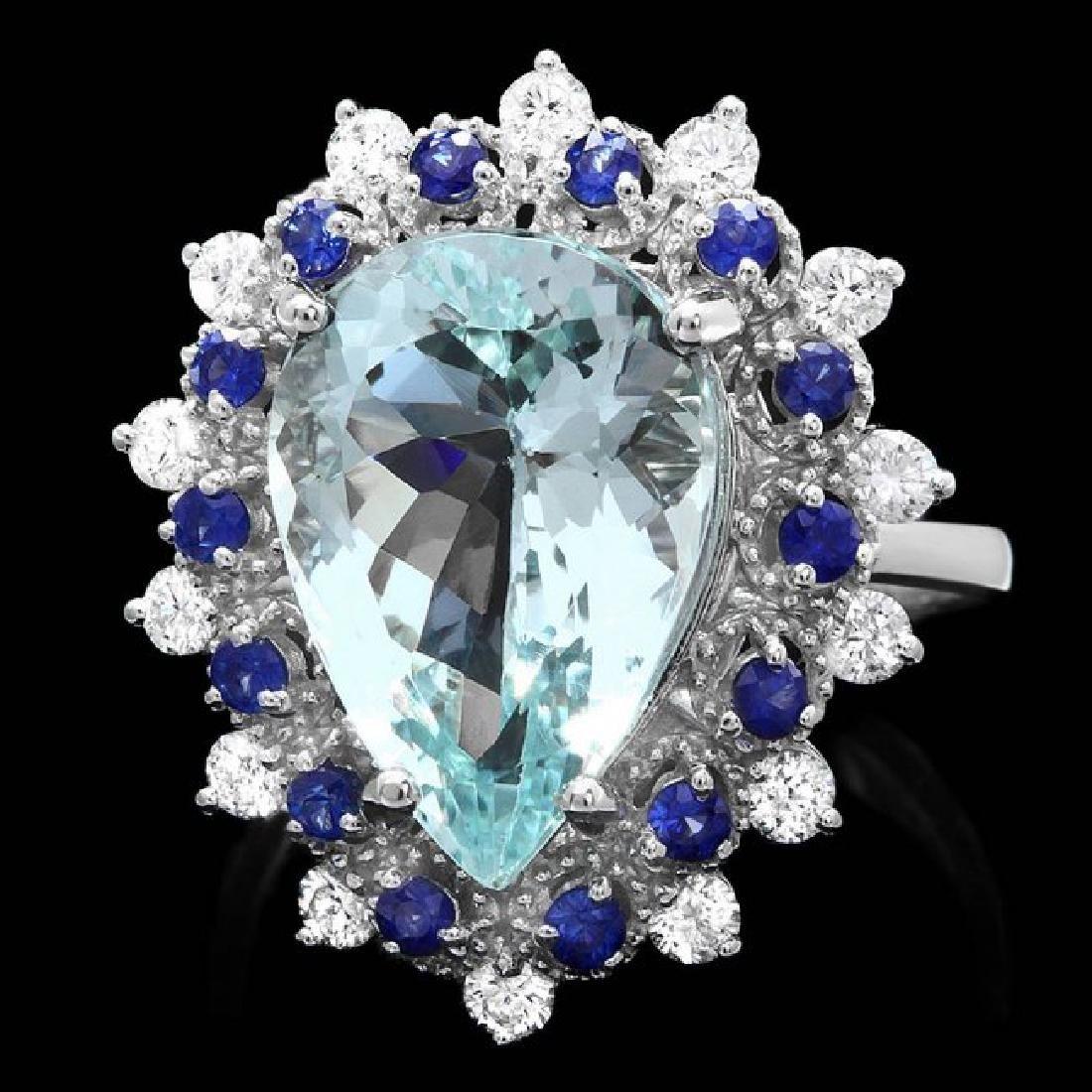 14k Gold 5.50ct Aquamarine 0.55ct Diamond Ring