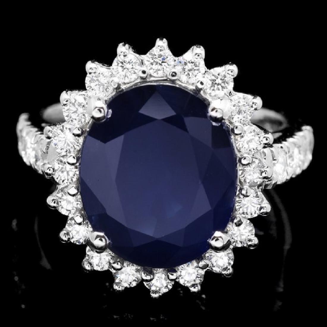 14k Gold 6.30ct Sapphire 1.00ct Diamond Ring
