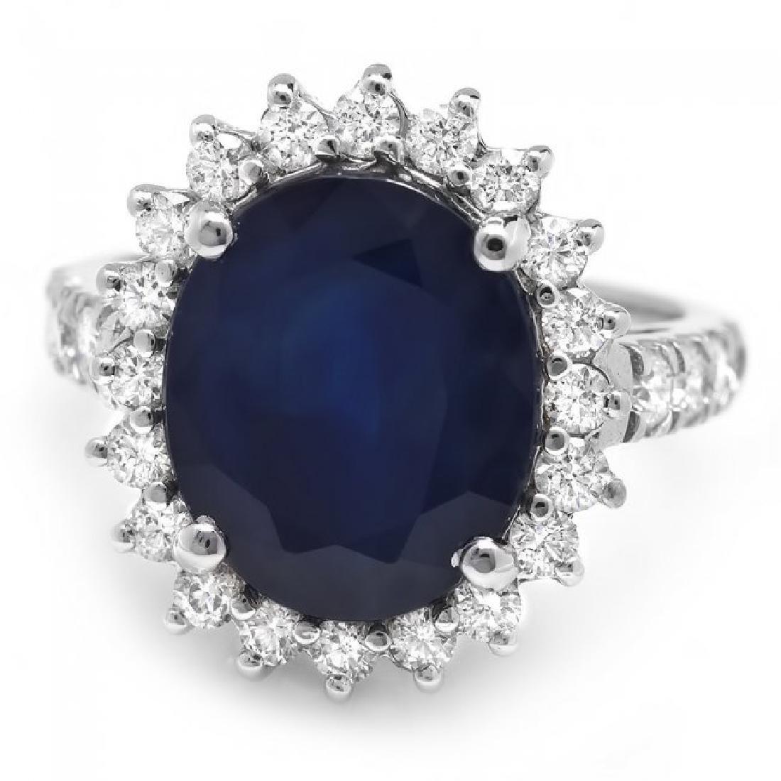 14k Gold 6.30ct Sapphire 1.00ct Diamond Ring - 2