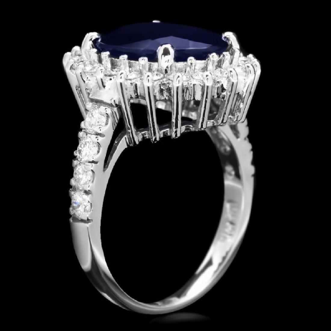 14k Gold 6.30ct Sapphire 1.00ct Diamond Ring - 3