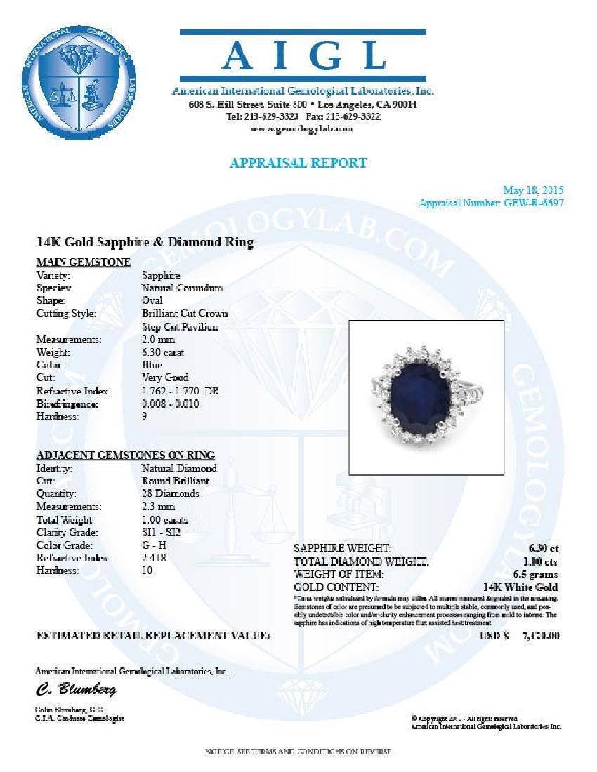 14k Gold 6.30ct Sapphire 1.00ct Diamond Ring - 5