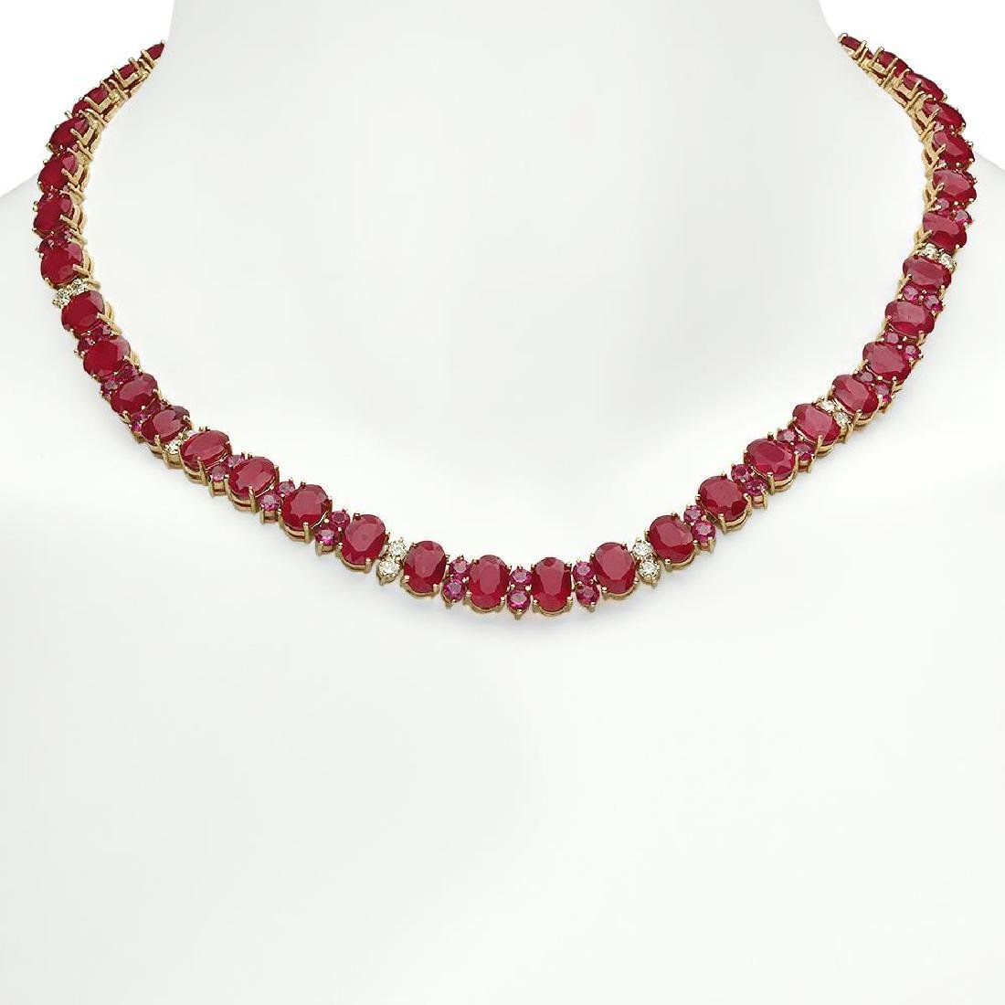 14K Gold 95.98ct Ruby 2.56ct Diamond Necklace