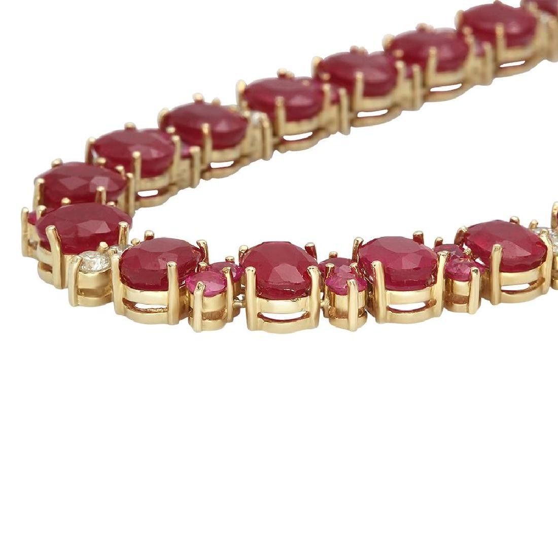 14K Gold 95.98ct Ruby 2.56ct Diamond Necklace - 2