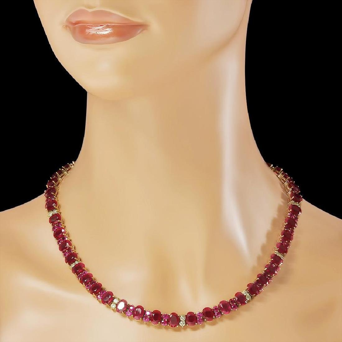 14K Gold 95.98ct Ruby 2.56ct Diamond Necklace - 3