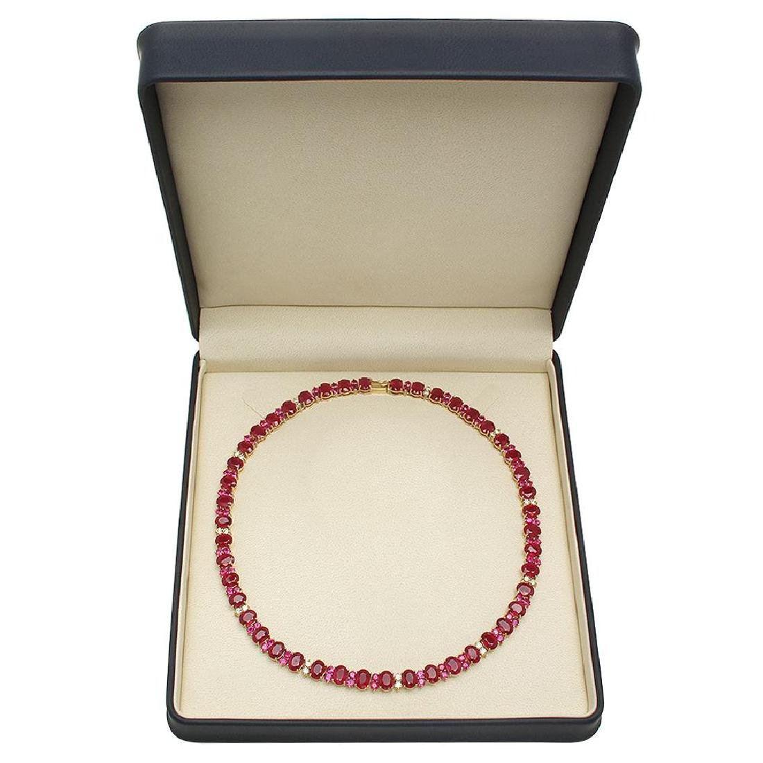 14K Gold 95.98ct Ruby 2.56ct Diamond Necklace - 4