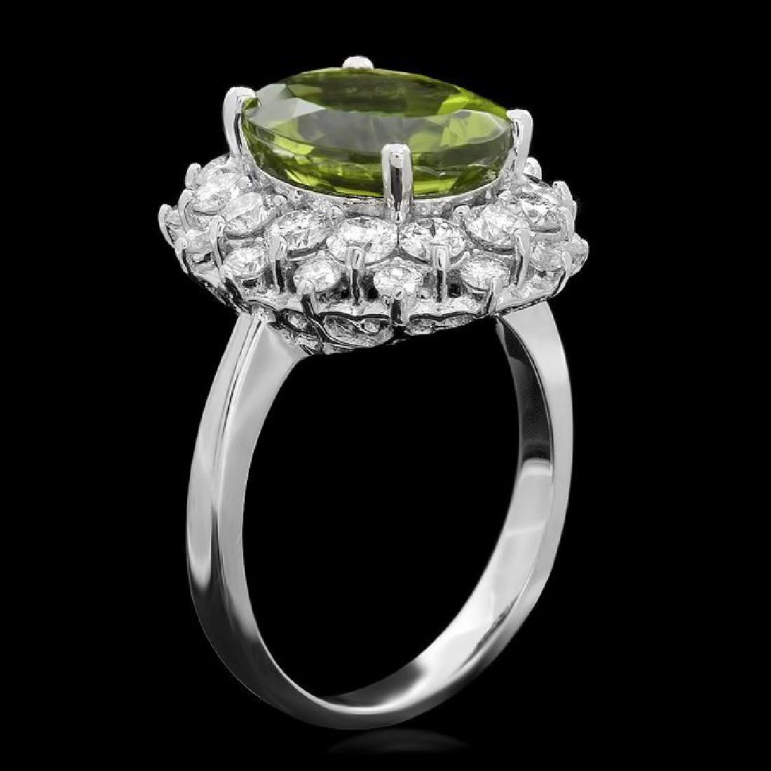 14k White Gold 5.00ct Peridot 1.60ct Diamond Ring - 2