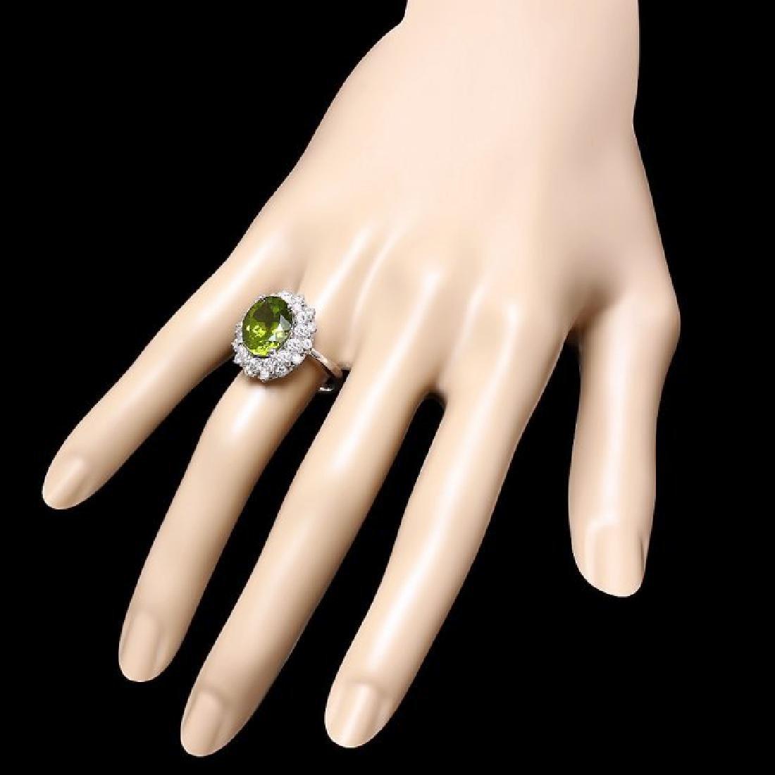 14k White Gold 5.00ct Peridot 1.60ct Diamond Ring - 3