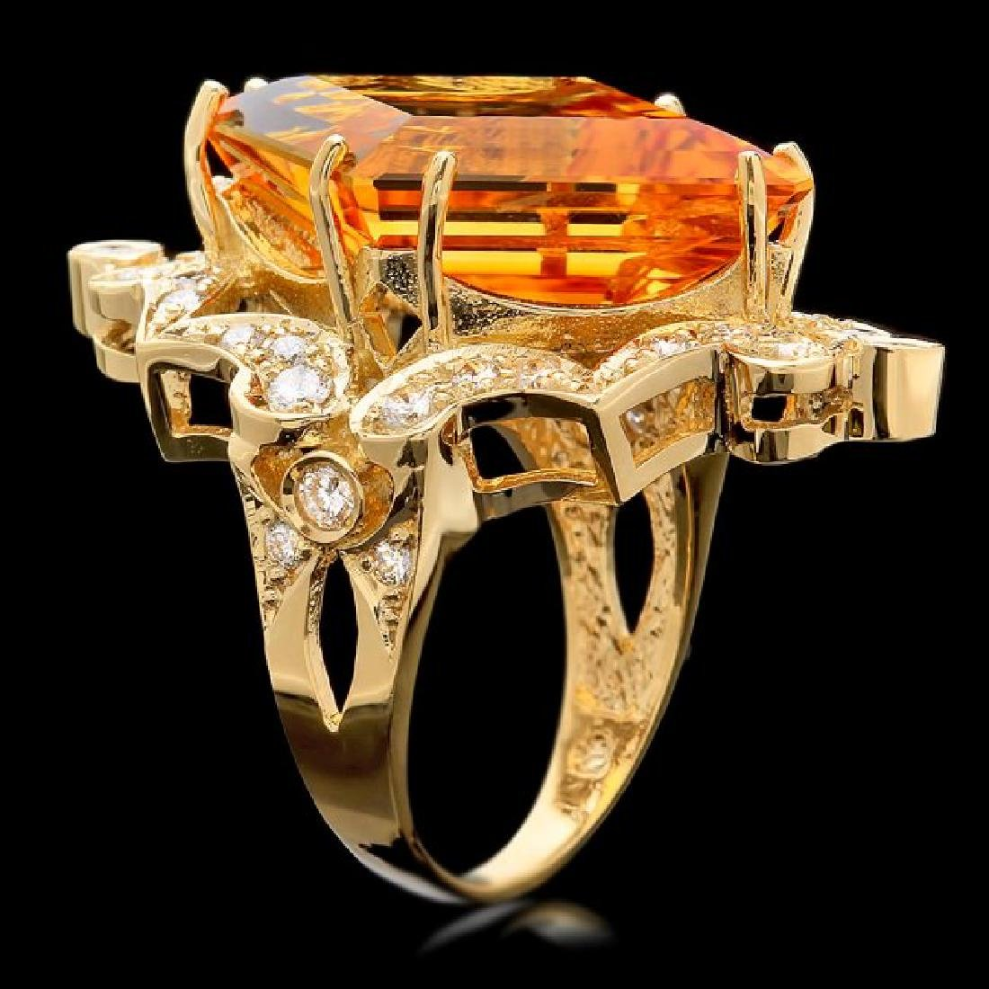 14k Gold 16.00ct Citrine 1.00ct Diamond Ring - 3