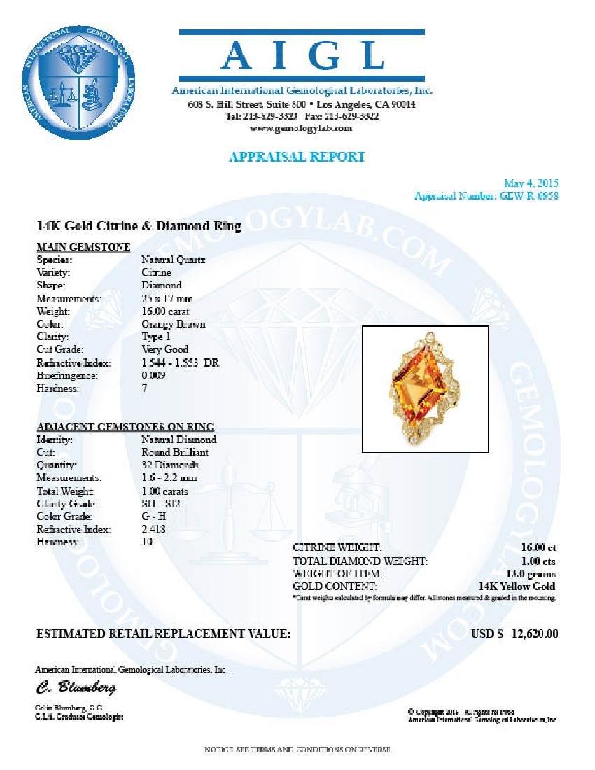 14k Gold 16.00ct Citrine 1.00ct Diamond Ring - 5