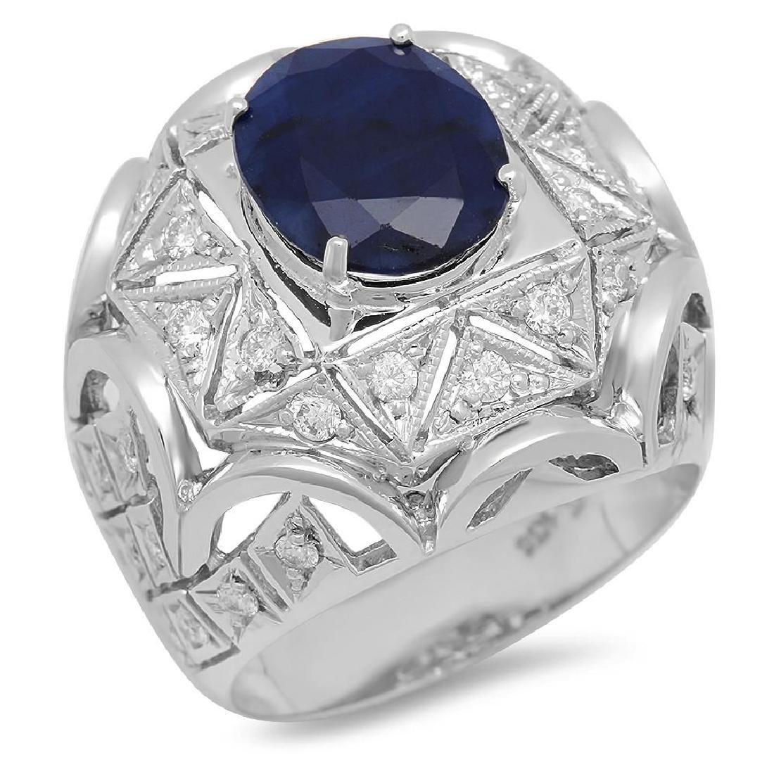 14K Gold 5.11ct Sapphire 1.07cts Diamond Ring