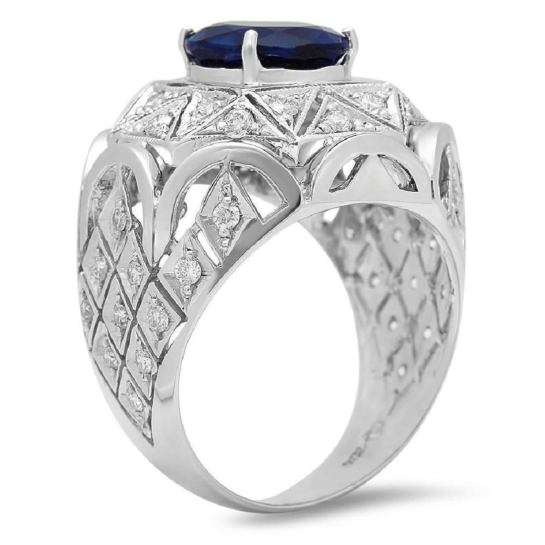 14K Gold 5.11ct Sapphire 1.07cts Diamond Ring - 2