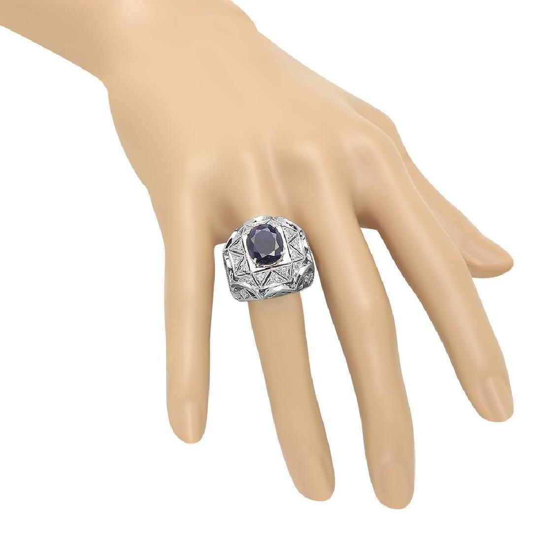 14K Gold 5.11ct Sapphire 1.07cts Diamond Ring - 3