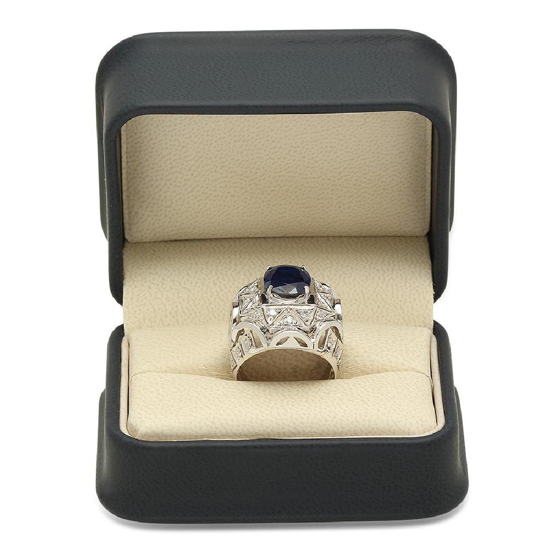 14K Gold 5.11ct Sapphire 1.07cts Diamond Ring - 4