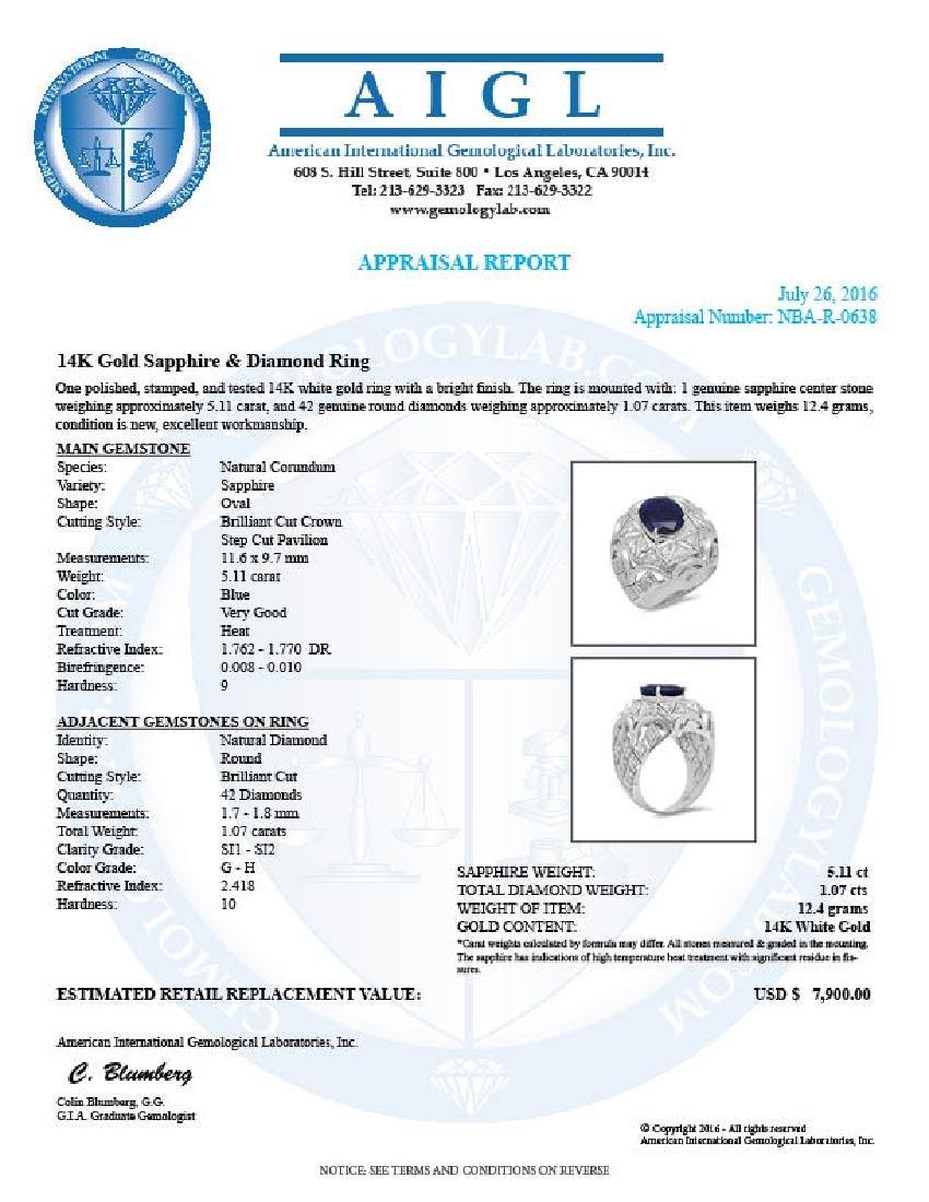 14K Gold 5.11ct Sapphire 1.07cts Diamond Ring - 5