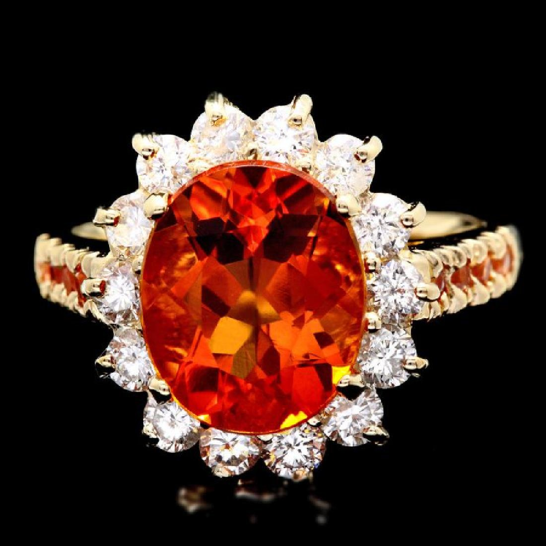 14k Gold 3.50ct Citrine 1.00ct Diamond Ring