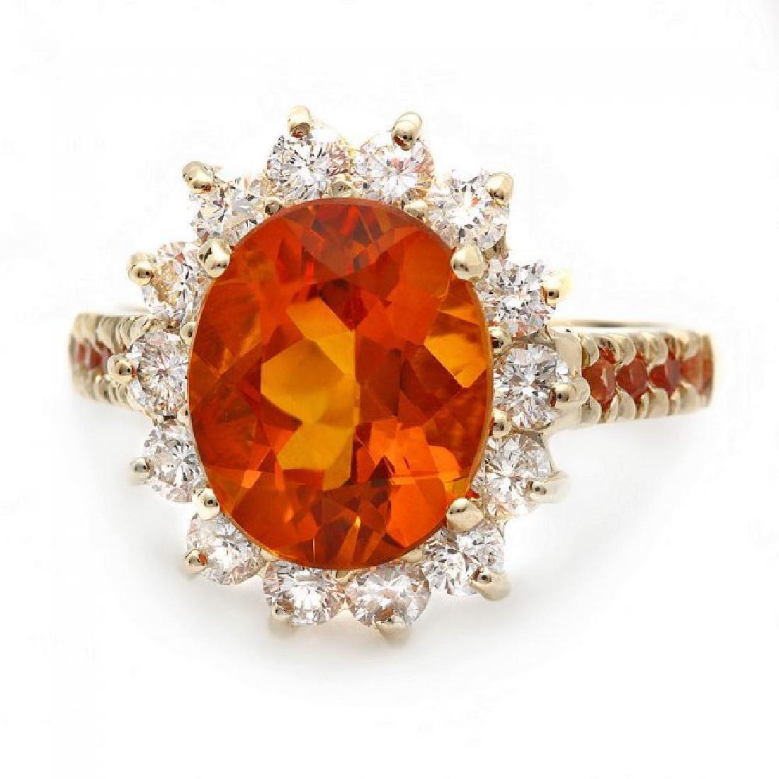 14k Gold 3.50ct Citrine 1.00ct Diamond Ring - 2
