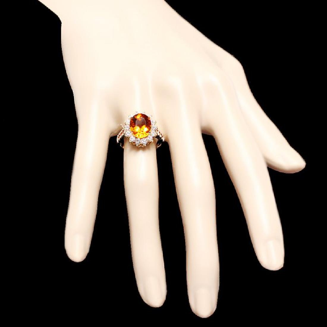 14k Gold 3.50ct Citrine 1.00ct Diamond Ring - 4