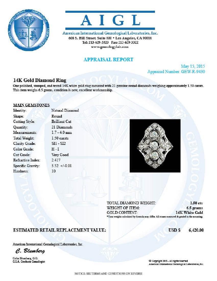 14k White Gold 1.50ct Diamond Ring - 5