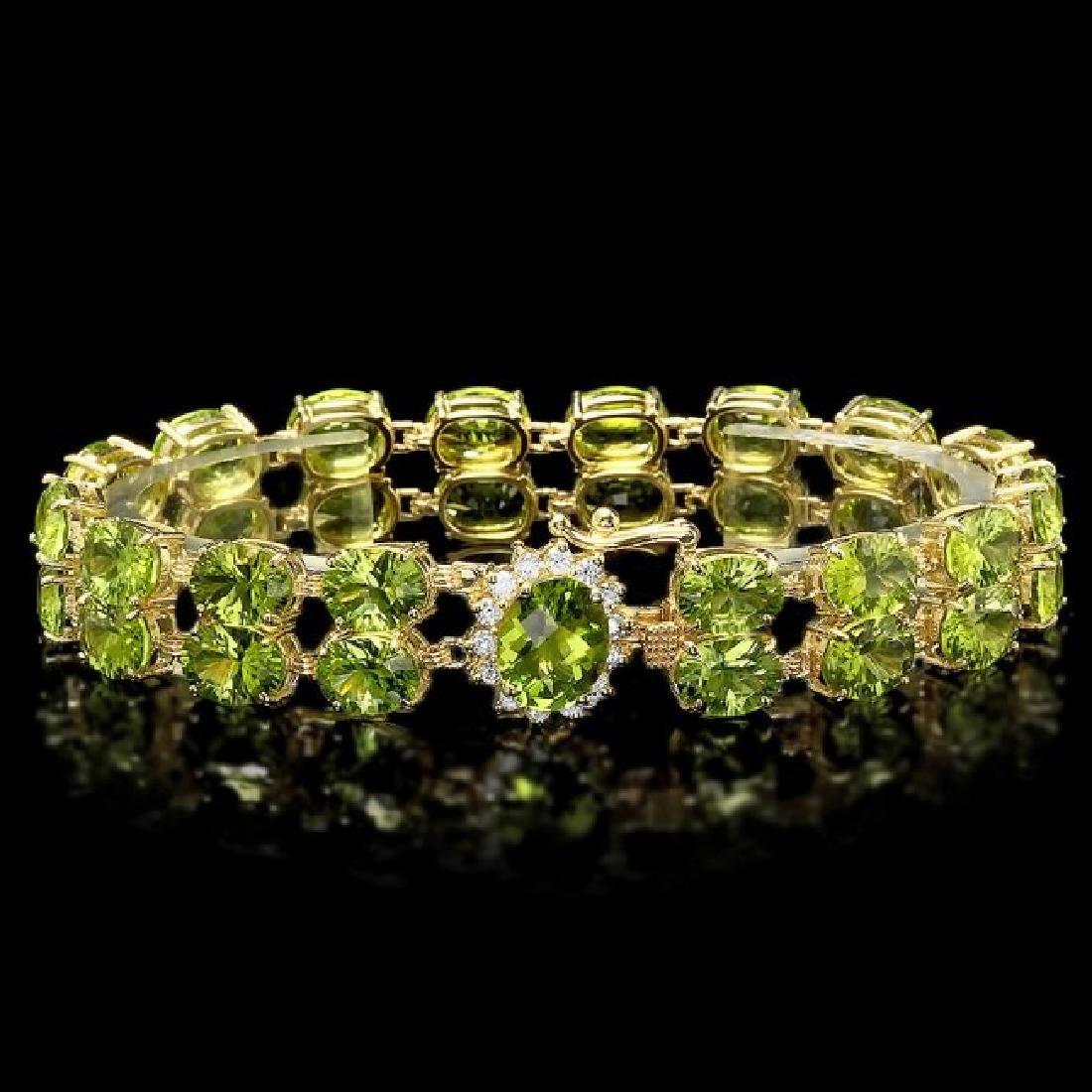 14k Gold 45ct Peridot 0.50ct Diamond Bracelet