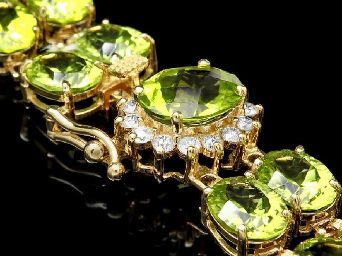 14k Gold 45ct Peridot 0.50ct Diamond Bracelet - 2