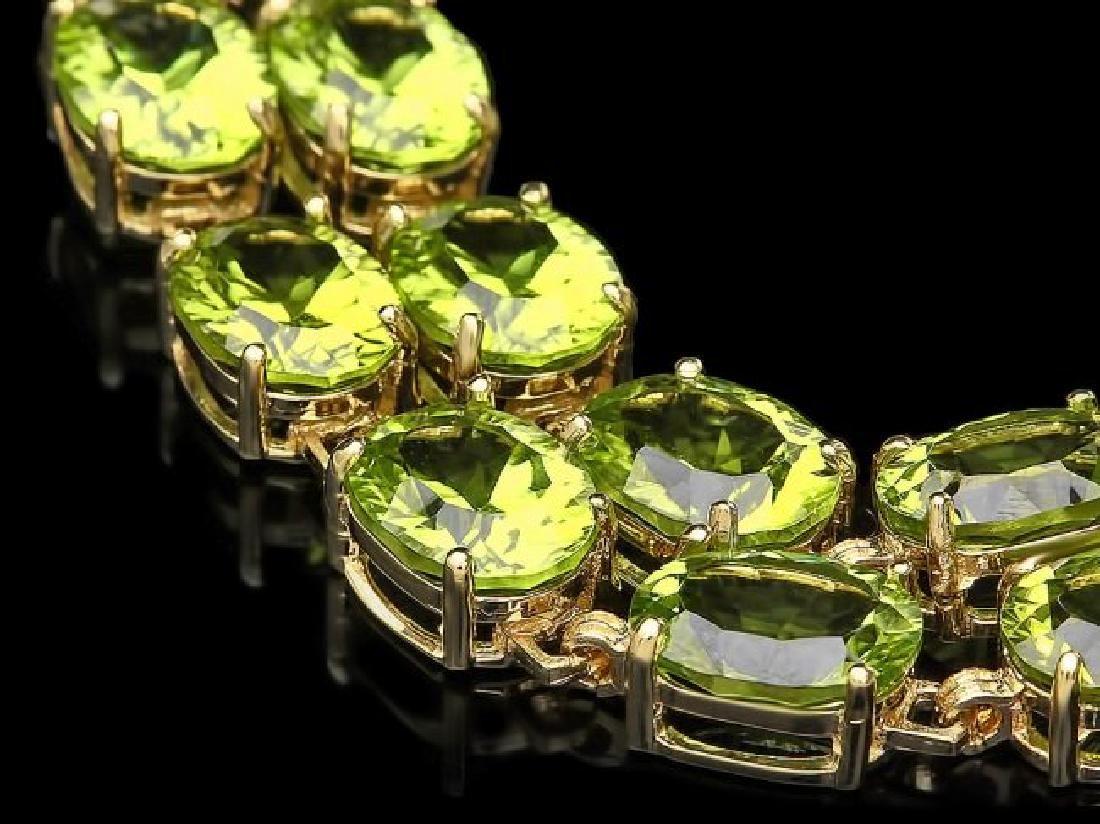 14k Gold 45ct Peridot 0.50ct Diamond Bracelet - 3