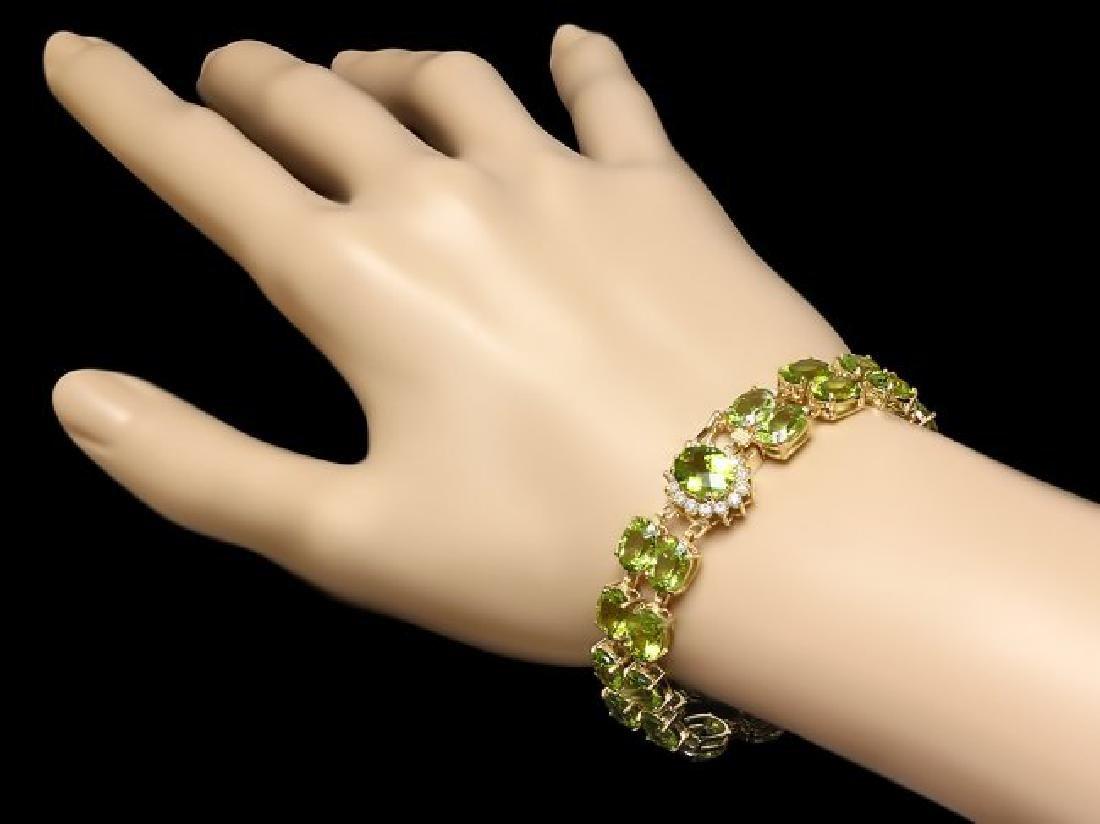 14k Gold 45ct Peridot 0.50ct Diamond Bracelet - 4
