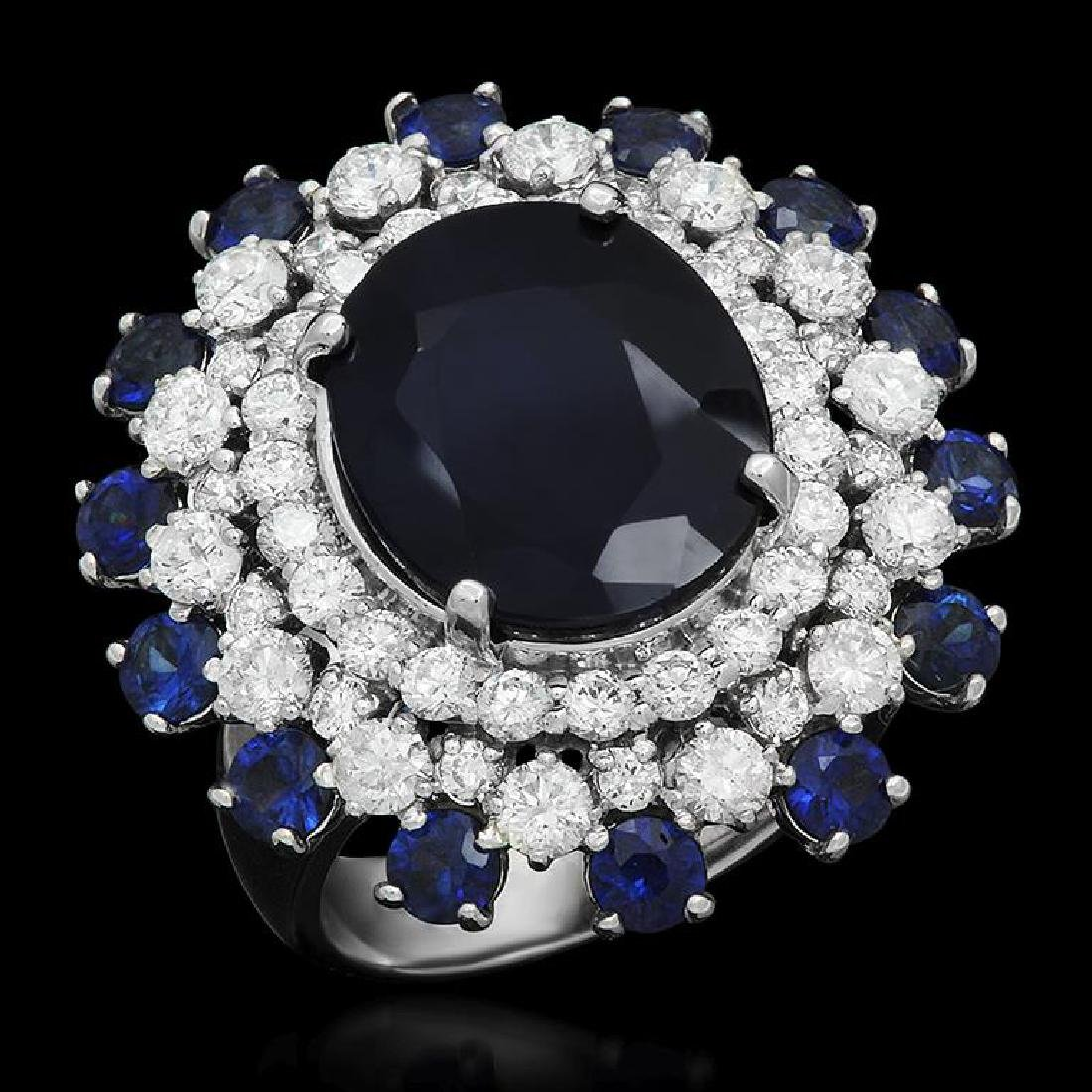 14K Gold 9.97ct Sapphire 2.31ct Diamond Ring