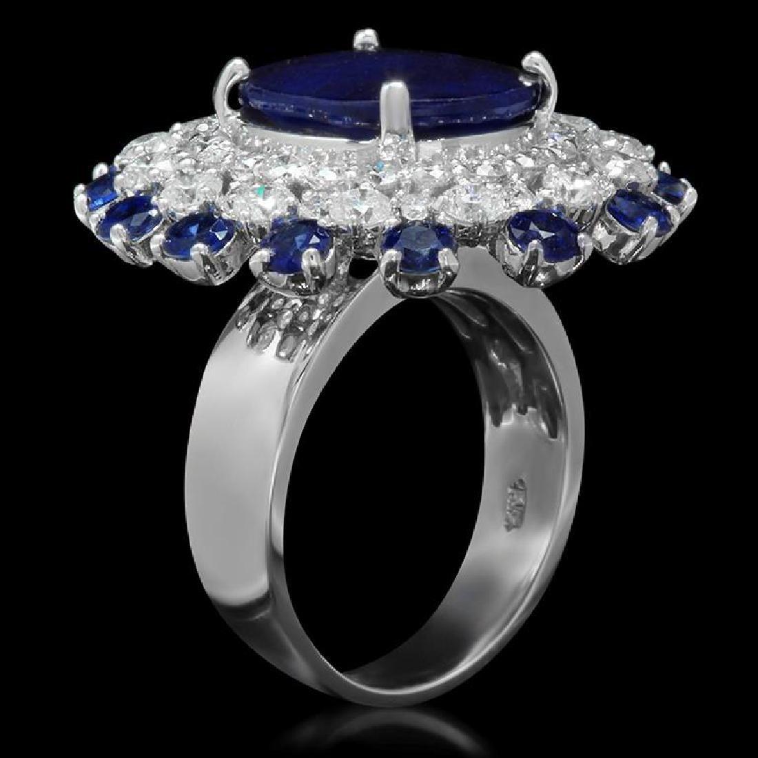 14K Gold 9.97ct Sapphire 2.31ct Diamond Ring - 2