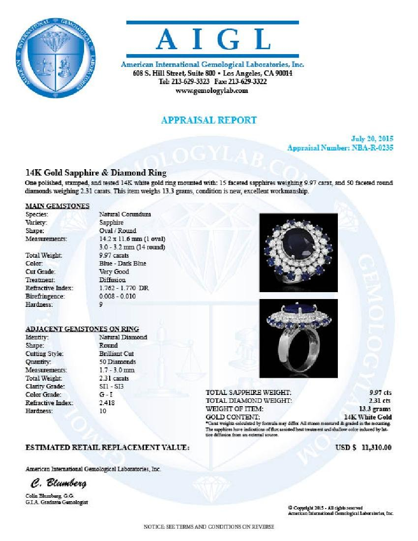 14K Gold 9.97ct Sapphire 2.31ct Diamond Ring - 4