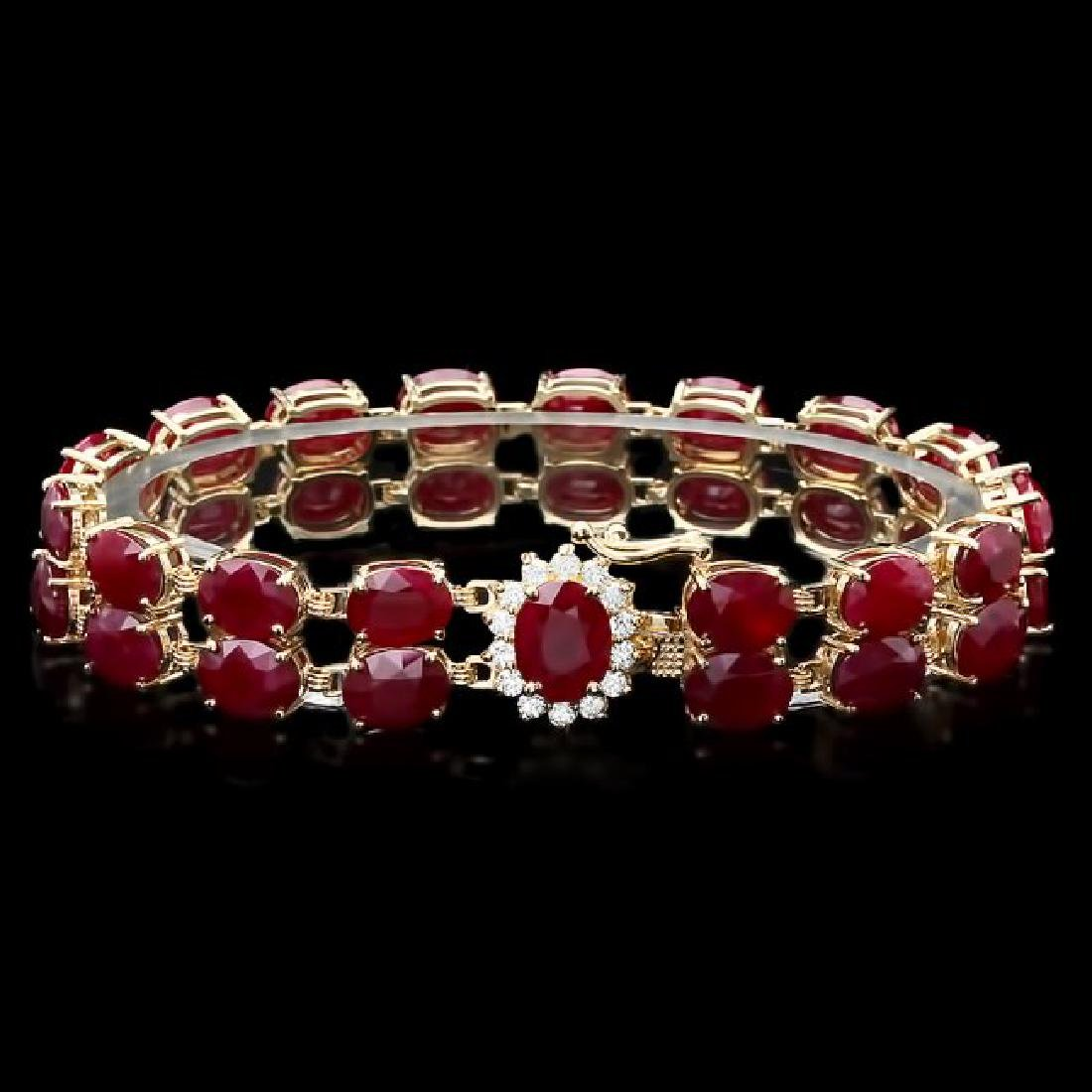 14k Gold 53.00ct Ruby 0.50ct Diamond Bracelet
