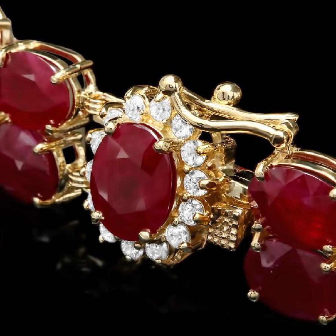 14k Gold 53.00ct Ruby 0.50ct Diamond Bracelet - 2