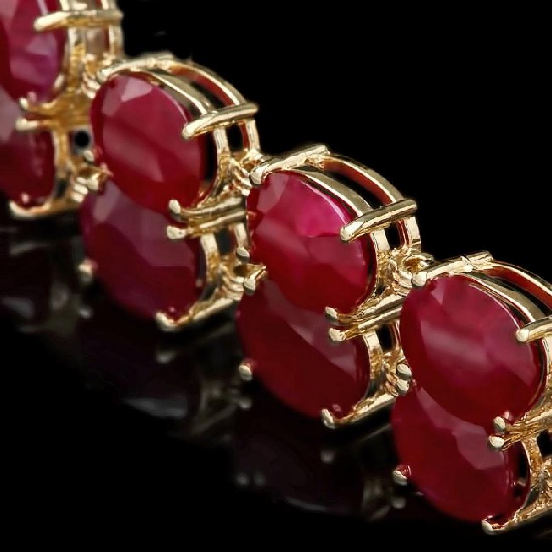 14k Gold 53.00ct Ruby 0.50ct Diamond Bracelet - 3
