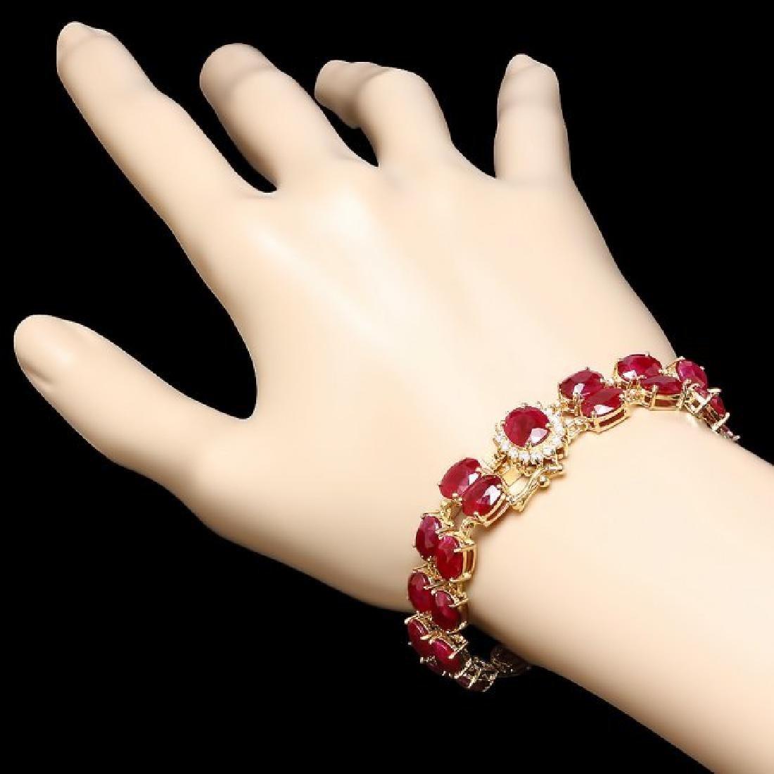 14k Gold 53.00ct Ruby 0.50ct Diamond Bracelet - 4